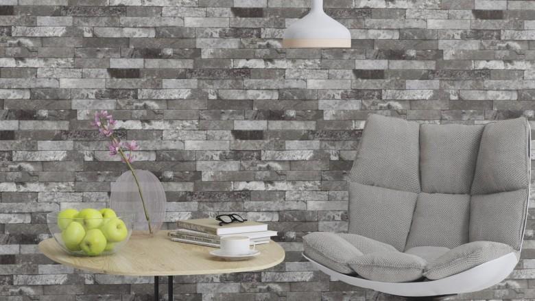 Ziegelmauer Grau - Rasch Vlies-Tapete Steinoptik