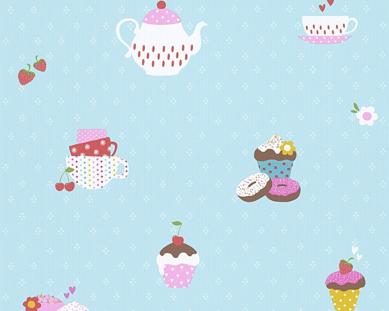 Cupcake blau Kinderwelt - A.S. Creation Papier-Tapete