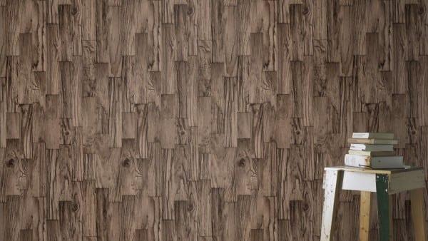 Treibholz Braun - Rasch Vlies-Tapete Holzoptik