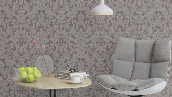 Tapete Barock Grau  - Rasch Vlies - Floralprint