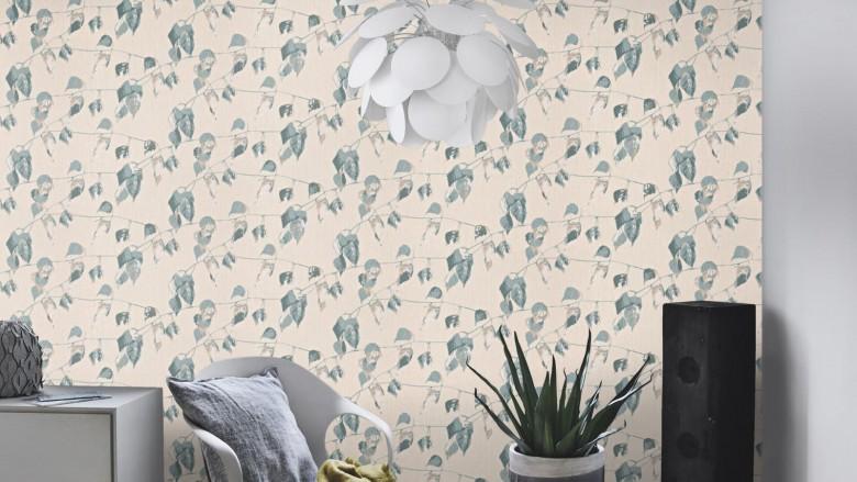 Blätter Blau Grau - Rasch Vlies-Tapete Floral