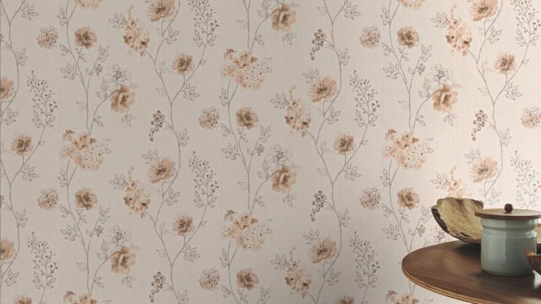 Blüten Karamell - Rasch Vlies-Tapete Floral