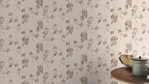 Blätter Creme - Rasch Vlies-Tapete Floral