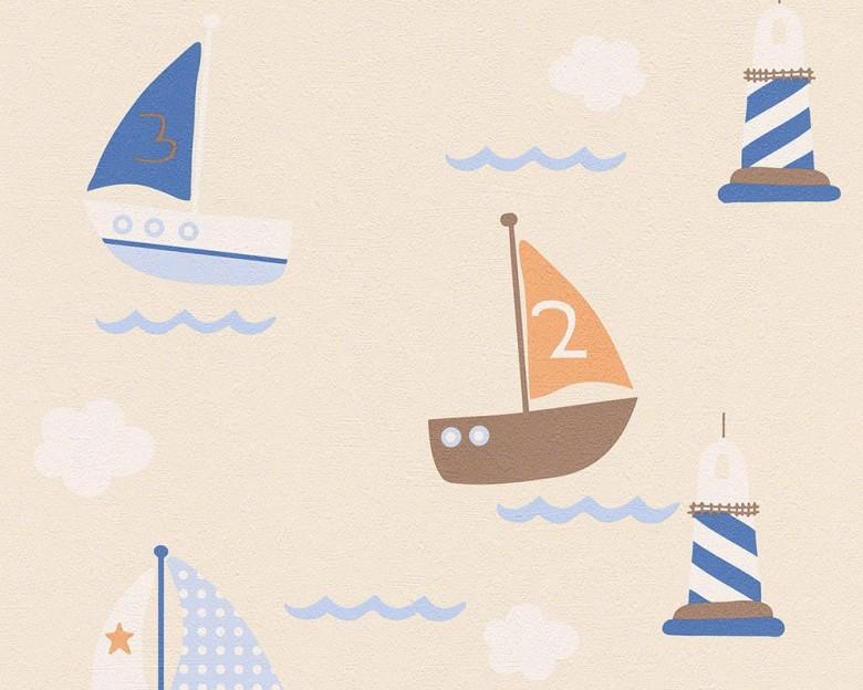 Segelboote beige Kinderwelt - A.S. Creation Papier-Tapete