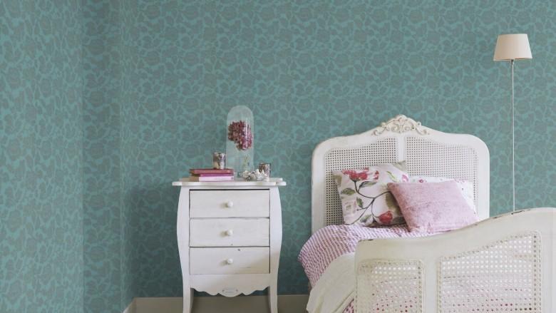 Tapete Barock Blau Grau   - Rasch Vlies - Floralprint