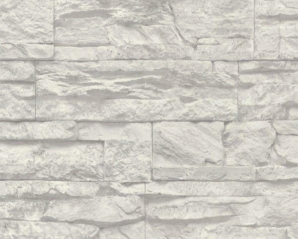 Weiß Basic Steinoptik- A.S. Creation Vlies -Tapete