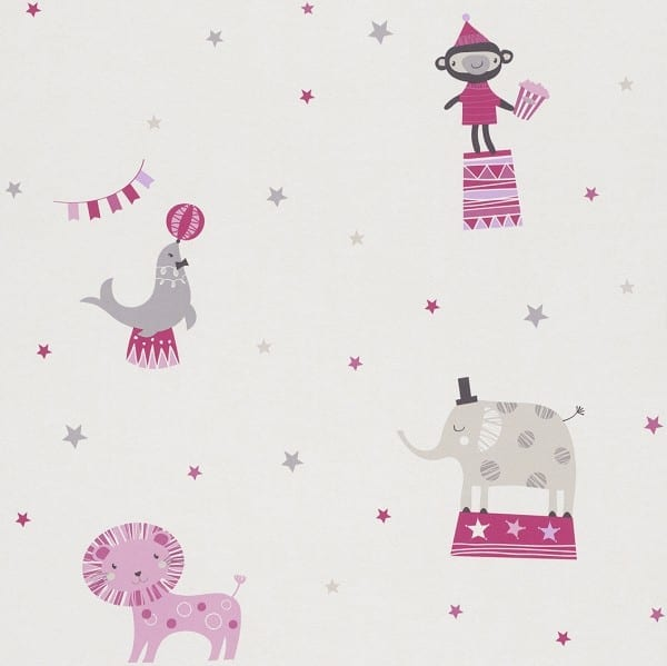 Zirkus rosa Kindertapeten  - Rasch Papiertapete