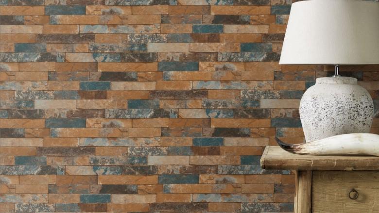 Ziegelmauer Terracotta - Rasch Vlies-Tapete Steinoptik