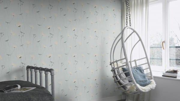 Mohnblume Grau - Rasch Vlies-Tapete Floral