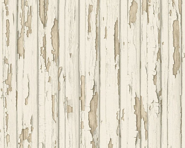 White Ripped Holzoptik- A.S. Creation Vlies -Tapete