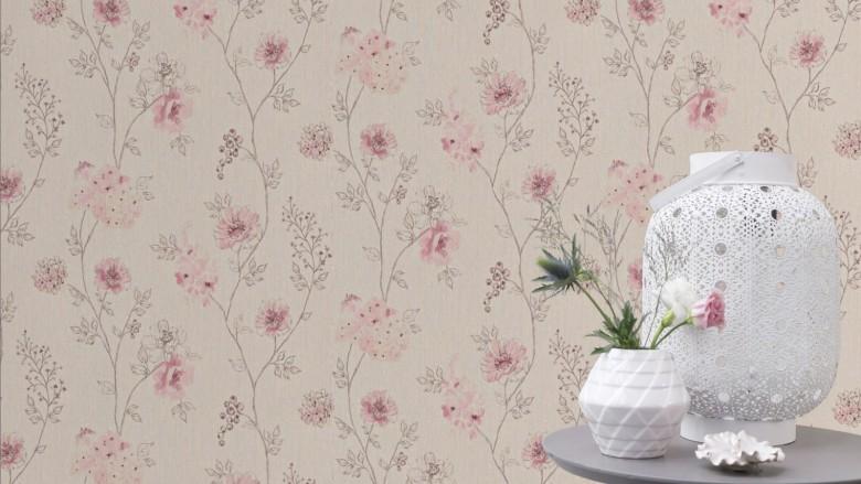 Blüten Rosa - Rasch Vlies-Tapete Floral