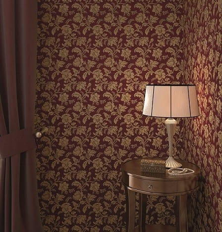 Floral Barock Rot - Rasch Vlies-Tapete