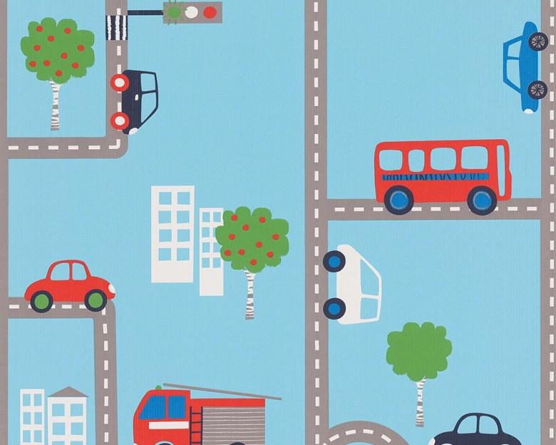 Straße blau Kinderwelt - A.S. Creation Papier-Tapete