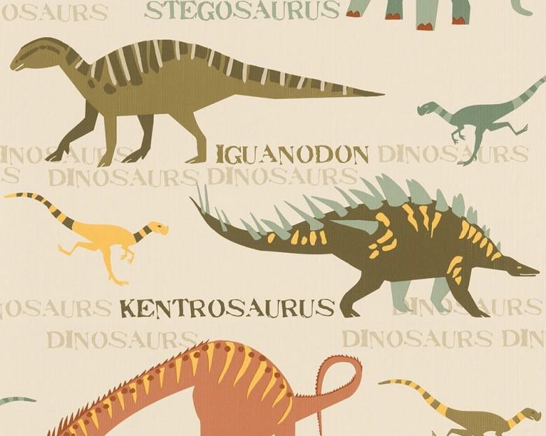 Dinosaurier grün Kinderwelt - A.S. Creation Papier-Tapete