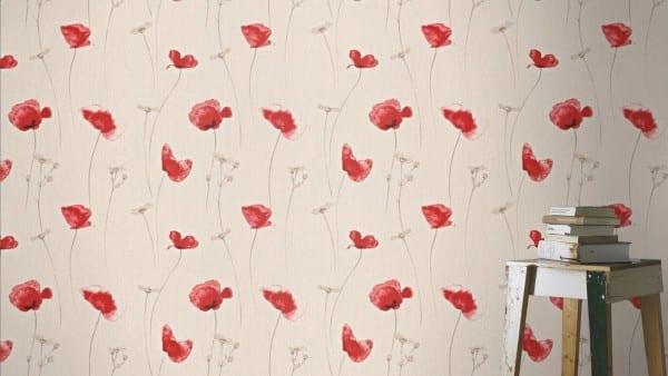 Mohnblume Rot - Rasch Vlies-Tapete Floral