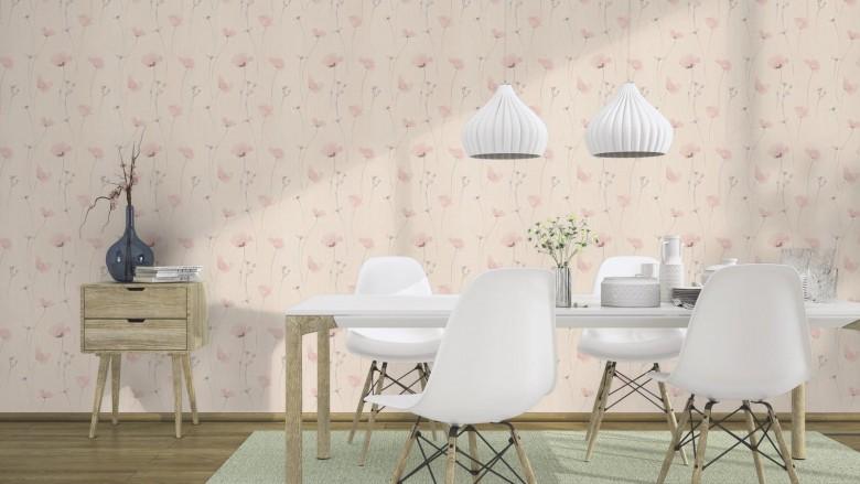 Mohnblume Rosa - Rasch Vlies-Tapete Floral
