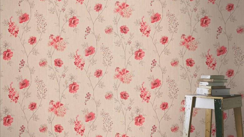 Blüten Rot - Rasch Vlies-Tapete Floral