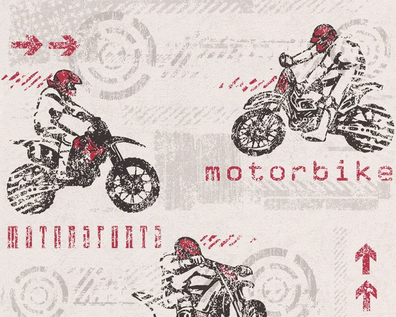Motorbike rot Kinderwelt - A.S. Creation Papier-Tapete
