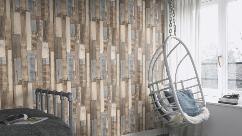 Holzplanken Braun - Rasch Vlies-Tapete Holzoptik