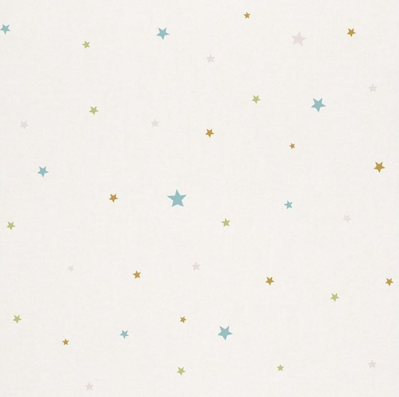 Sternchen grün Kindertapeten  - Rasch Papiertapete