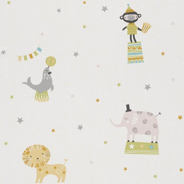 Zirkus gelb Kindertapeten  - Rasch Papiertapete