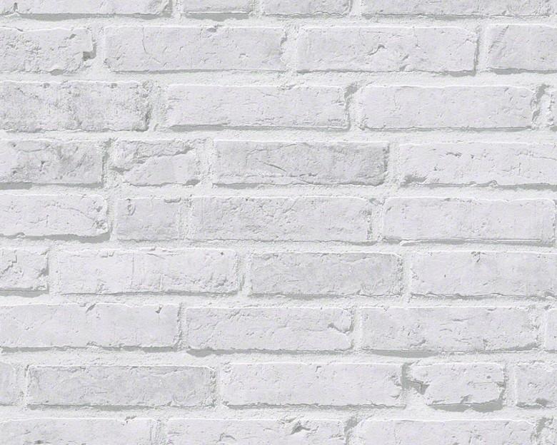 Weiß Klinker Steinoptik- A.S. Creation Vlies -Tapete