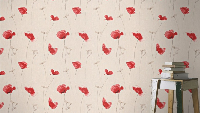 Mohnblume Rot - Rasch Vlies-Tapete Floral