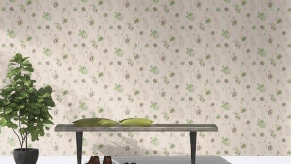 Blüten Grün Lila - Rasch Vlies-Tapete Floral