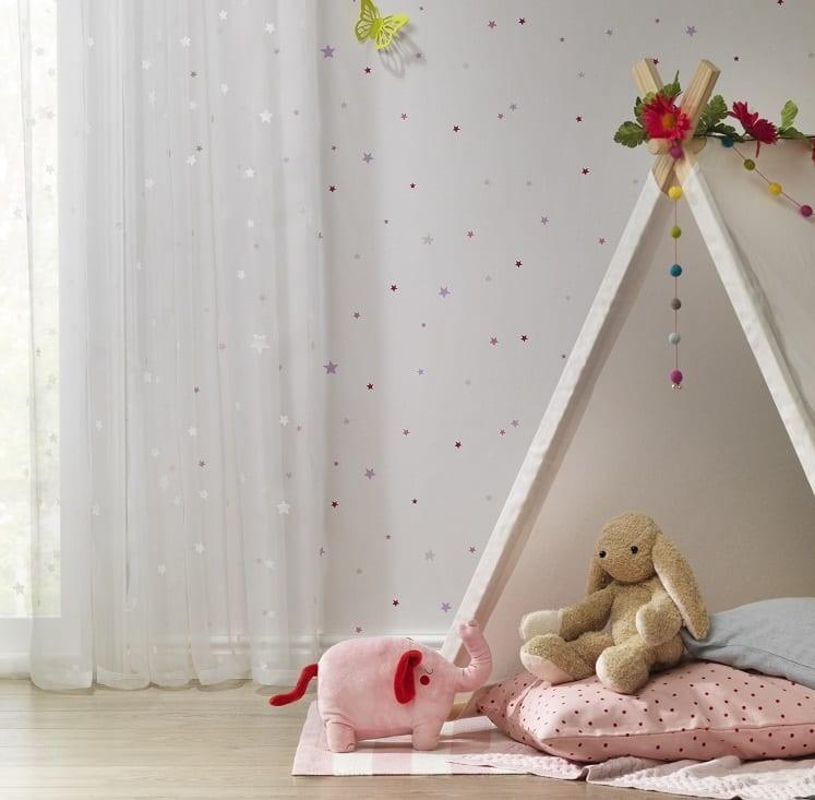 Sterne Rosa Grau - Rasch Papier Kindertapete