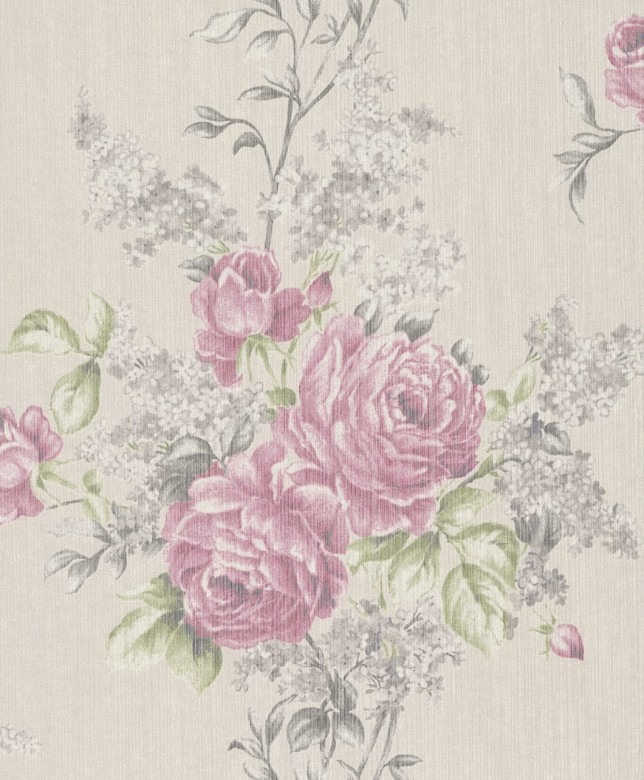 Floral Rose pink - Rasch Vlies-Tapete