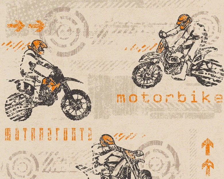 Motorbike orange Kinderwelt - A.S. Creation Papier-Tapete