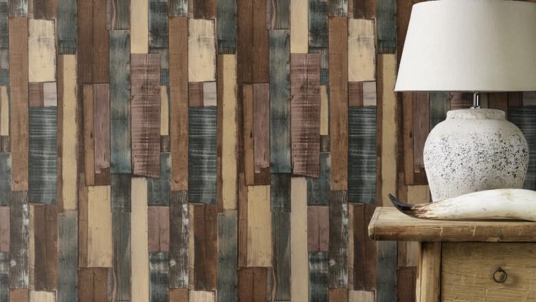Holzplanken Dunkel - Rasch Vlies-Tapete Holzoptik