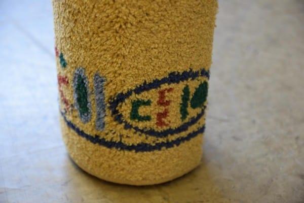 Mustard Kräuselvelours-Teppich 1,2m x 2,45m gekettelt