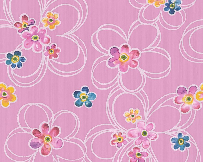 Blumen pink Kinderwelt - A.S. Creation Papier-Tapete