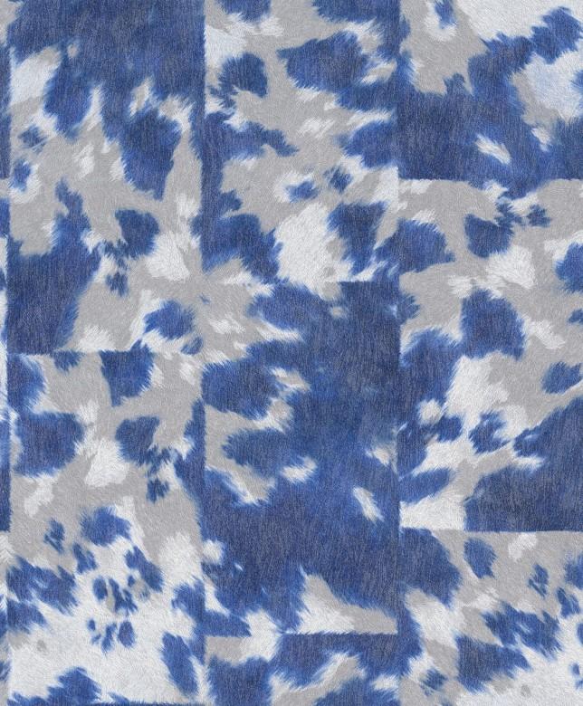 Tierfell Blau Weiß - Rasch Vlies - Tapete Tierprint