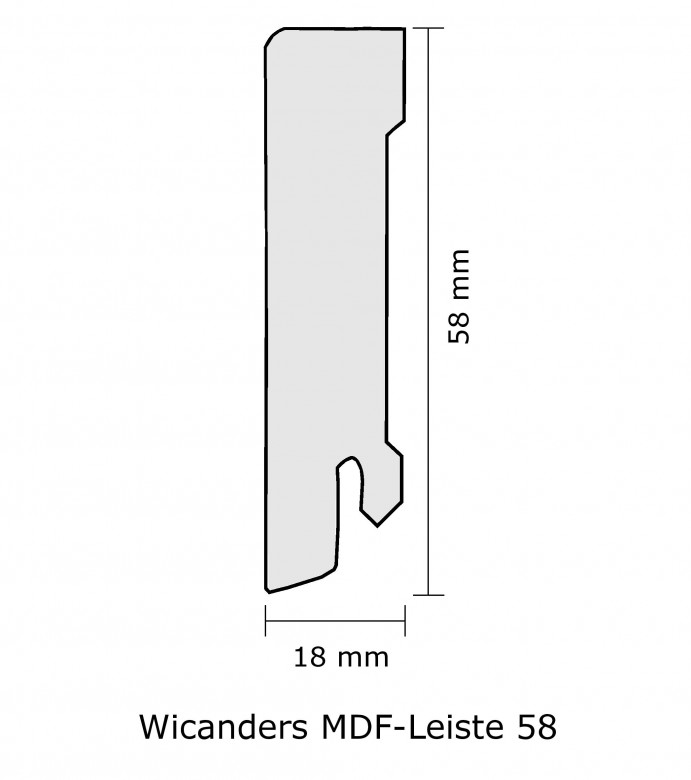Grey Rustic Pine - Wicanders Sockelleiste MDF 58mm (2,4 lfm/Stck.)
